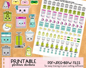 Kawaii Cleaning Home Chores Stickers set  - Printable Planner stickers, Print and Cut stickers for Happy Planner, Filofax, Erin Condren...