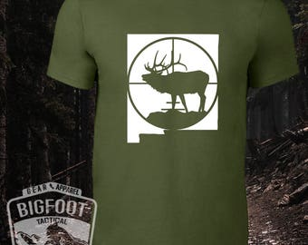 New Mexico Elk Hunt Shirt - Elk Hunter - Green Shirt ALL STATES AVAILABLE
