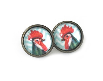 Blue Chevron Rooster Antique Brass Post Earrings