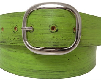Flash Green Distressed Leather Belt Strap - Full Grain Leather
