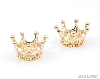 CG027-B (2pcs) / Cubic in Crown Bead in Gold / 6mm x 10mm (Small Size)