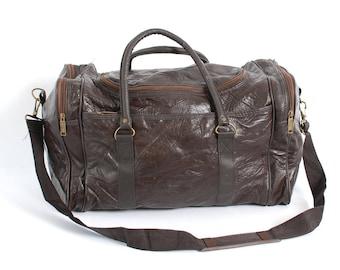 PATCHWORK brown leather 80s 90s DUFFEL travel overnight LARGE shoulder strap bag