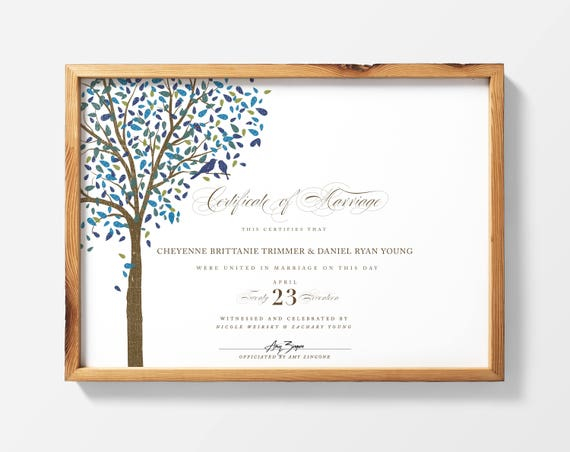 PRINTABLE Marriage Certificate Wedding Certificate