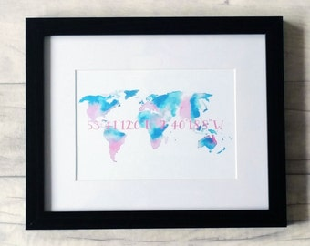 Personalised custom coordinates watercolour map art print, loose or framed 'Where we met' Perfect wedding, engagement or anniversary gift