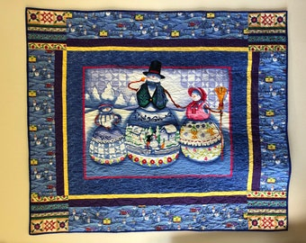 Quilted Snow Family, Lap Quilt or Wall Hanging