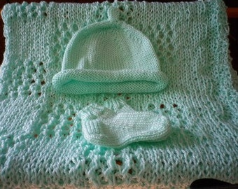 Mint Green Knitted Blanket, Hat and Booties Set