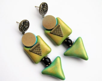Geometric earrings, blue gold earrings, big blue earrings, extravagant earrings, massive blue studs, blue dangle earrings, big studs, fimo