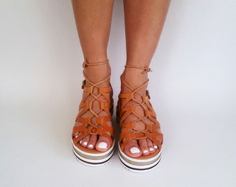 Womens Espadrilles Sandals, Greek Leather Sandals, Lace Up Espadrilles, White Sole Wedges ''Ancient Star''
