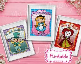 Alice in Wonderland Printable Nursery Prints