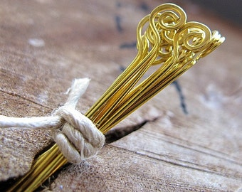 15 Golden Pure Brass Headpins, Hammered Spiral Headpins 22 gauge, Hand Crafted Artisan Jewelry Findings / Gold Eye Pins