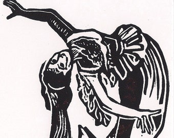 Steampunk Linocut Print- Edwardian Woman-Swoon Fainting- 4x6 inch