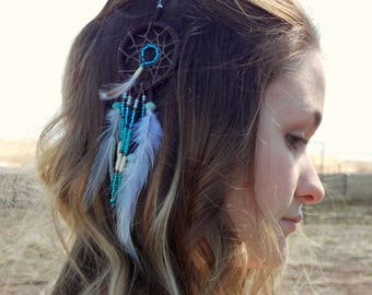 Dream catcher feather hair clip, clip in feathers, amazonite & jasper gemstone jewelry, hair accessory, bag clip, alligator clip feathers