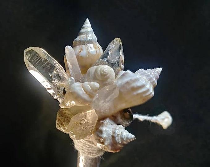 Quartz, Selenite Crystal and Shell Healing Nature Wand. Fairy/Pixie/Mermaid Wand, Ocean/Coastal Wand.