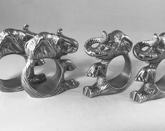 Arthur Court Designs Closed Ear Elephant Napkin Rings Set of 4