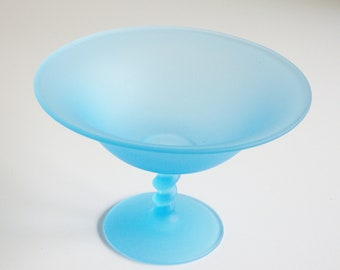 Sale, Vintage, Tiffin, Satin Compote, Frosted Glass, Sky Blue, Turquoise, Pedestal Bowl, Footed Bowl, Glass Compote, Gift under 50