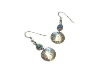 Ethnic earrings Abalone and sterling silver