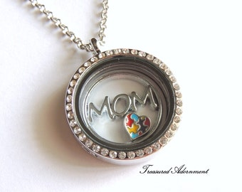 READY TO SHIP, Autism Mom Necklace, Autism Awareness Jewelry, Floating Locket Necklace, Puzzle Heart, Mother's day gift for mom, April gift