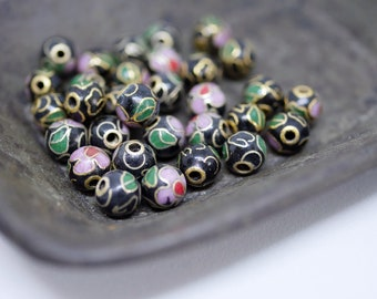 Chinese Cloisonne Beads 6mm Black Cloisonne Bead Enamel Beads Metal Beads (8 beads) CL07