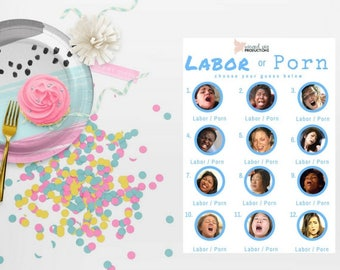 Labor or Porn Baby Shower Game with Answer Key - BLUE