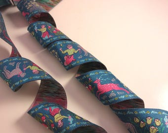 """Exquisite Forest and Friends Pink on Teal Polyester Jacquard Ribbon 1.5"""" Wide--By the Yard"""