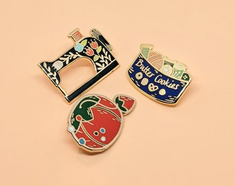 Sewing Enamel Pin Set | Hard Enamel, Enamel Pin, Lapel Pin, Flair, Gifts for Sewist, Sewing Gifts, Seamstress Gifts, Quilter Gifts