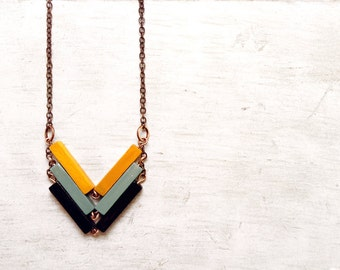 Minimalist necklace. Wood Geometric Necklace. Unique gift for minimalist. French style. Gift for mum. FASHIONISTA Black Yellow Mint Necklace