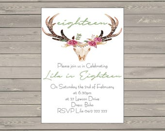 Printable 5x7 Custom Birthday Invitations Headbull Flowers 18th, 21st, 30th, 40th, 50th, 60th