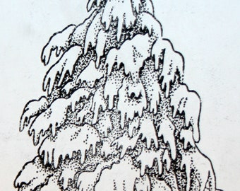 Snow Covered Tree Unmounted Rubber Stamp Winter Snow Scene Christmas Holiday Card Making Collage Mixed Media