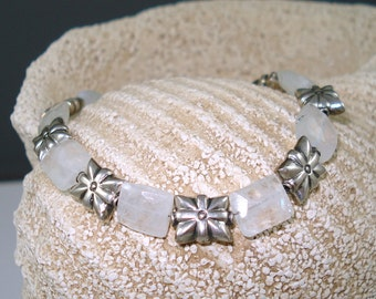Moonstone Bracelet with Moonstone Pillows and Sterling Silver Beads