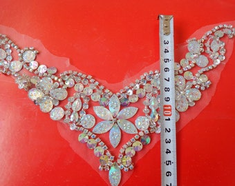 A136 Handmade crystal patches clear AB colour sew on Rhinestones applique with stones sequins beads 25*20cm for top dress