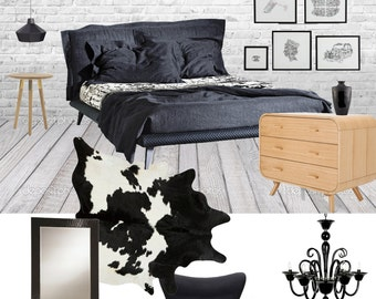 Interior Design Service online, eDesign. Complete Bedroom design with scaled plan, moodboard and Shopping list. Easy and affordable