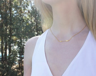 Gold Arrow Necklace // 16K Gold // Minimal Necklace // Layering Necklace // Bohemian Necklace // Tribal Necklace