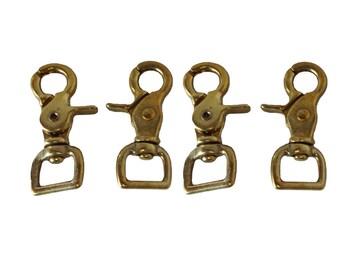 Set of 4 Solid Brass Trigger Snaps Flat Square End Scissor New Western Horse Tack Hardware