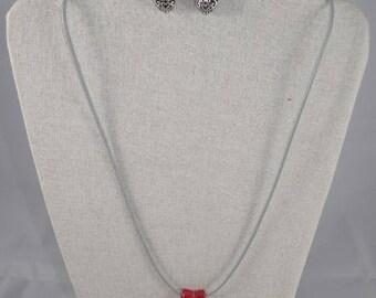 Parure001 - Parure coeur grise et rouge