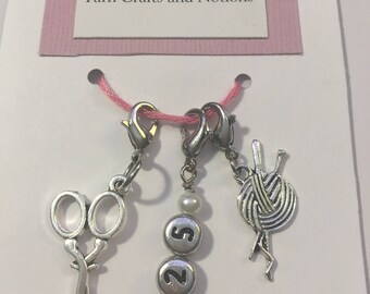 2.25 mm Crochet Hook Size, Crochet Stitch Markers, Trio of Stitch Markers, Hook Size, Work in Progress