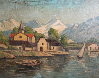 Vintage  seascape boats oil painting