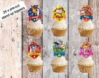 24 x Edible Pre Cut stand up Paw Patrol character Badges