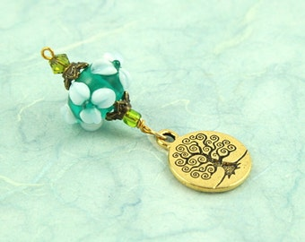 Blessingway bead - Forest Spring Golden Tree of Life - Mother Blessing bead, mama goddess