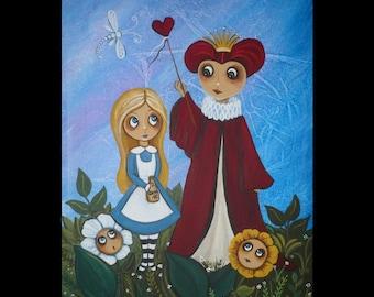Alice in Wonderland Art  - Acrylic Folk Art Painting - Wonderland Art - Fairy Tale Art - Original Art - Um