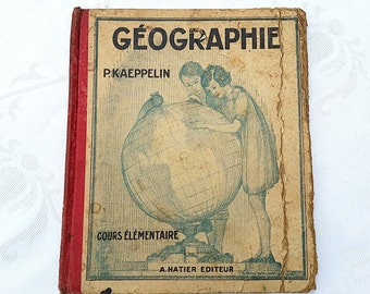 1920 French vintage geography school book,  french school book for primary school, Paul Kaepellin book