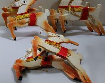 Reindeer 3 Vintage Leaping Sets of 2 Charming Handmade Christmas Reindeer (1)