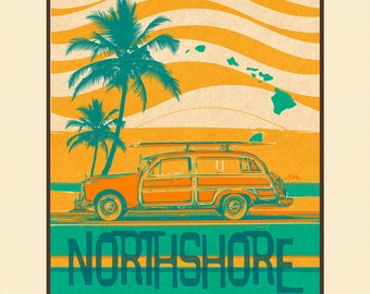 Art Print North Shore Retro Surf