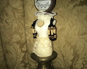 Handmade Steampunk Doll with Vintage Oven Thermometer Head with Marble Body