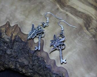 FAYE/FAIRY and KEY drop dangle earrings, Pagan, Wicca, Spiritual, Tibetan silver, charm, Samhain, Halloween.