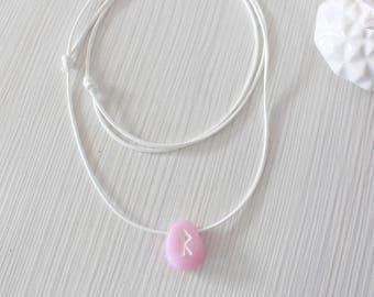 Pale Pink Rune Necklace/ Viking Rune Amulet/ Polymer Clay Pink Quartz Effect/ Rune Talisman/ Pink Women Necklace