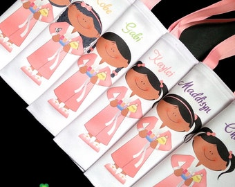 African American girls, spa party favor bags, spa birthday, slumber party themed favors personalized tote bags
