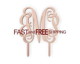 Cake Topper  -  Wooden Wedding or Birthday Cake Monogram Toppers, 5 Inches Tall