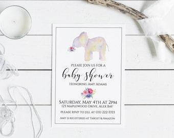 Elephant Baby Shower Invitation Baby Shower Invite Elephant Printable Elephant Invite Editable Baby Shower Invite Girl Baby Shower Invite