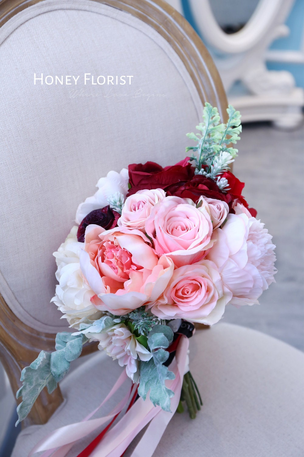 Handmade Custom Red and Pink Mix Color Silk Flower Wedding