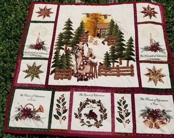Father Christmas Quilted Wall Hanging, gold thread, hand embroidered, Santa